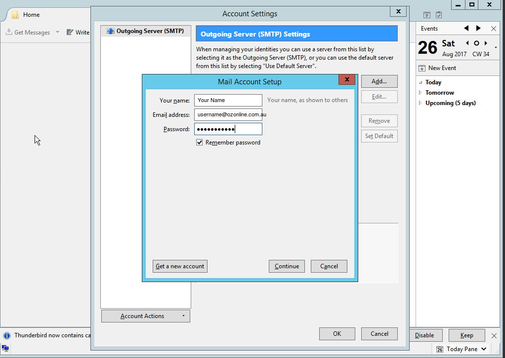 Setting up Australia On Line email in Mozilla Thunderbird